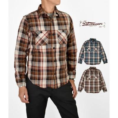 メンズ 長袖チェックネルシャツ デラックスウエア (DELUXEWARE) 60s NEW VINTAGE 長袖チェックワークシャツ ヘビーネルシャツ HV-39