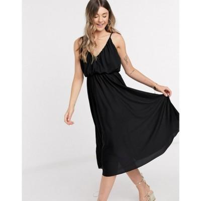 エイソス ASOS DESIGN レディース ワンピース キャミワンピ ワンピース・ドレス cami plunge midi dress with blouson top in black ブラック