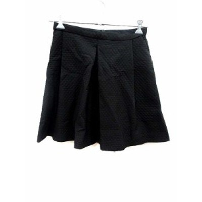 【中古】アダムエロペ Adam et Rope' スカート フレア ミニ ワッフル地 38 黒 ブラック /YI レディース