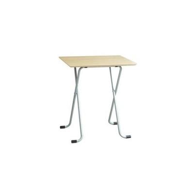 ds-2154563 折りたたみテーブル 【角型 ナチュラル×シルバー】 幅60cm 日本製 木製 スチールパイプ 〔ダイニング リビング〕【代引不可】 (ds2154563)