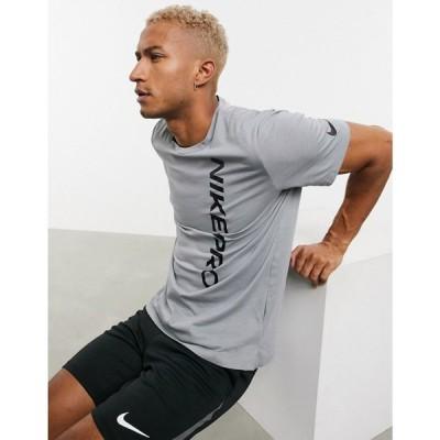ナイキ Nike Training メンズ Tシャツ トップス Nike Pro Training T-Shirt With Burnout Logo In Grey グレー