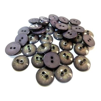 手芸 素材 縫製材料 15mm グレー色系 キラキラ ラメ入り 表2穴 ポリエステル系 ボタン 16個入り