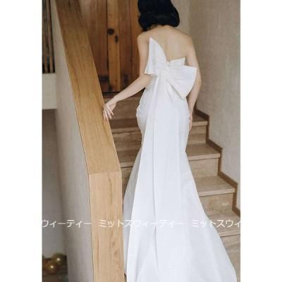 ウェディングドレス スレンダードレス ウエディングドレス 二次会 花嫁 パーティードレス 披露宴 ブライダル 結婚式 ロングドレス エレガント 前撮り 後ろリボン