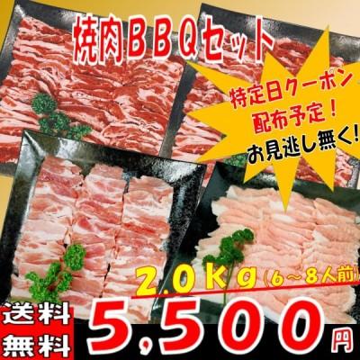 肉 バーベキュー 食材 牛肉 焼肉セットバーベキュー肉 BBQ 肉 カルビ バラ BBQ食材セット 豚トロ 豚肉 焼肉 牛丼 2kg 6〜8人前