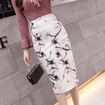 スリムフィットプリントスカート ボトムス きれいめ スカート 花柄 フラワー レディース プリント スリム ストレッチ Hライン sexyスカート