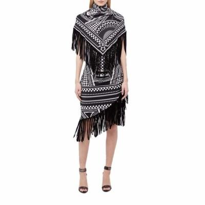 バルマン ワンピース トップス レディース Fringed Scarf-Trimmed Printed Dress Black/White