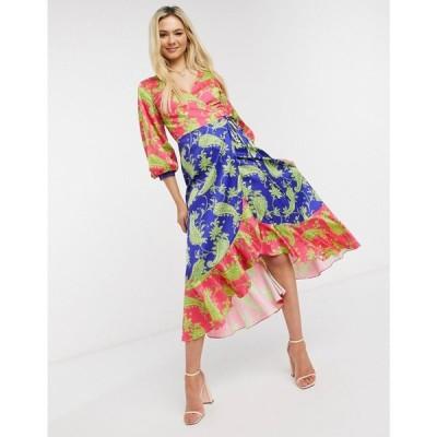 リカリッシュ Liquorish レディース ワンピース ラップドレス ワンピース・ドレス Midi Wrap Dress In Contrasting Colours Paisley Print
