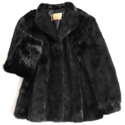 極美品▼MITSUKOSHI MINK 三越 ミンク 本毛皮コート ブラック 大きめサイズ15号 毛質艶やか・柔らか◎