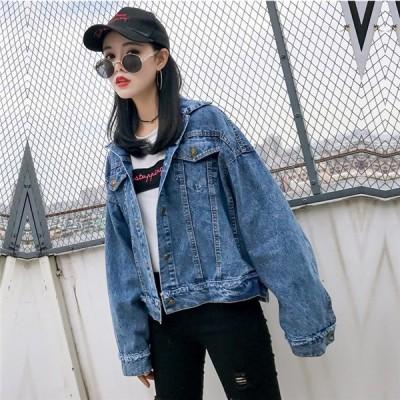 デニム アウター 2020 秋冬 レディース ジージャン 個性的 奇抜 POP 原宿系 ファッション 個性  な 服 青文字系 ジャケット