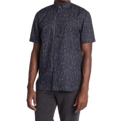 トスカーノ メンズ シャツ トップス Short Sleeve Etched Floral Print Linen Blend Shirt MIDNIGHT