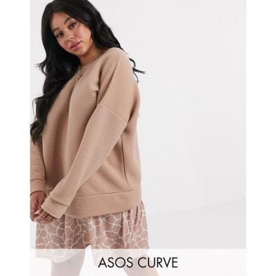 エイソス ASOS Curve レディース ワンピース ワンピース・ドレス asos design curve rib sweat dress with giraffe print hem ベビーピンク