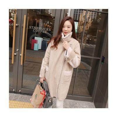 レディース コート ゆったり ポケット モコモコ オフホワイト/ブラック S〜XLサイズ 新品未使用品 t-00374029