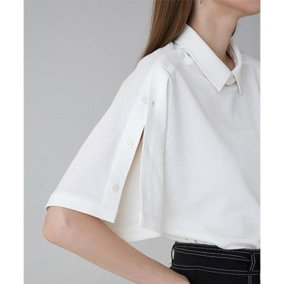 シャツ ブラウス 【UNSPOKEN】【2020SS 先行予約】ビッグシルエット アームボタン ワイドポロシャツ FAZ18151
