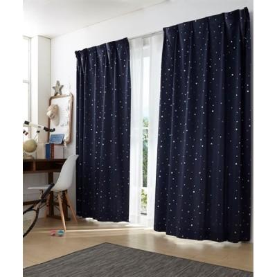 きらきら輝く夜空のような星柄箔プリント遮光カーテン ドレープカーテン(遮光あり・なし) Curtains, blackout curtains, thermal curtains, Drape(ニッセン、nissen)