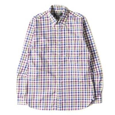 BROOKS BROTHERS ブルックスブラザーズ シャツ グラフチェック エジプトコットン BDシャツ アメリカ製 Slim Fit パープル×ブルー×イエ