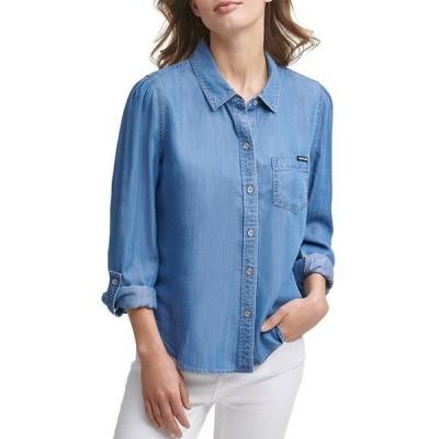 ダナ キャラン ニューヨーク レディース シャツ トップス Jeans Long Roll-Tab Sleeve Button Down Lyocell Shirt