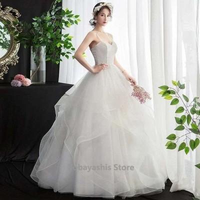 ウェディングドレスAラインキャミドレスフレアホワイトドレス結婚式花嫁プリンセスドレス編み上げロングドレス披露宴二次会パニエ付き