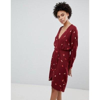 セレクティッド レディース ワンピース トップス Selected Femme printed mini wrap dress in burgundy Multi