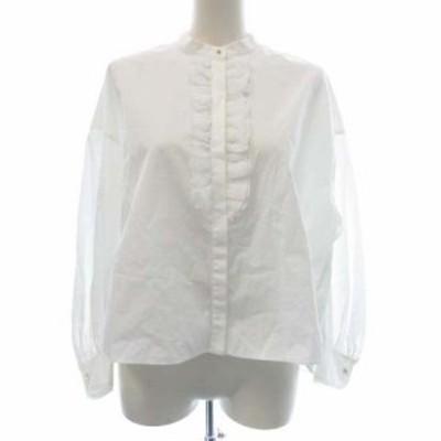 【中古】トゥモローランドコレクション 20AW コットンフロントフリルシャツ ブラウス 長袖 36 S 白 レディース