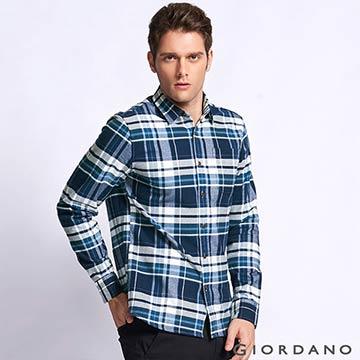 GIORDANO 男裝純棉磨毛修身單口袋長袖襯衫-13 海軍藍/藍格子