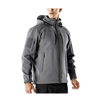 CQR ソフトシェル ジャケット フード付き [防風・防水・保温] ソフトシェルジャケット(HOK801) グレー XLサイズ