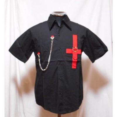 クロス 半袖シャツ 日本製 フリーサイズ 黒 チェーン付き 1120 パンク ロック ライブ 衣装