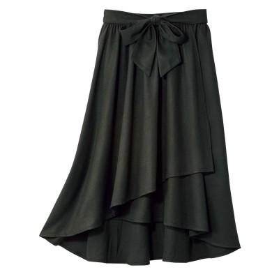 ジーラ GeeRA ベルト付ラップ風フレアースカート (ブラック)