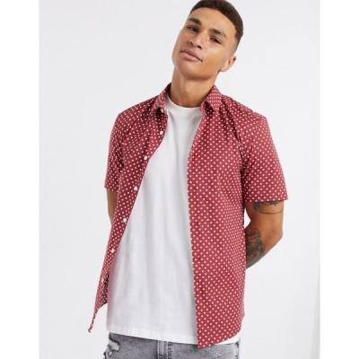 エイソス メンズ シャツ トップス ASOS DESIGN stretch skinny polka dot  shirt in red Red