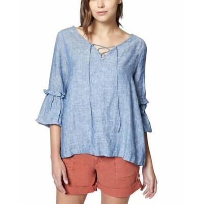 レディース 衣類 トップス Womens Small Lace-Up Ruffle Sleeve Blouse S ブラウス&シャツ