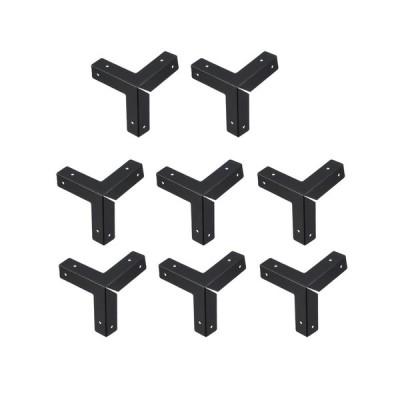 uxcell 金属 ボックスコーナープロテクター エッジガードプロテクター 33 x 33 x 33mm-8個(ブラック)