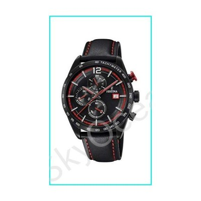 Men's Watch Festina - F20344/5 - Chronograph - Tachymeter - Date - Leather Strap - Black and Red【並行輸入品】