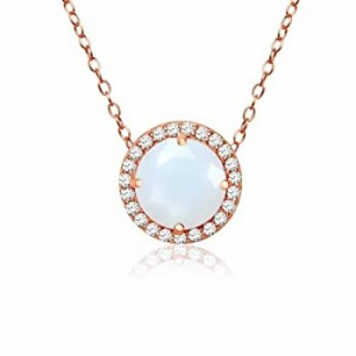 Ice Gems Rose Gold Flashed Sterling Silver Simulated White Opal and Cubic Zirconia Round Halo Necklace