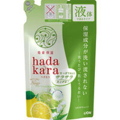 ライオンハダカラ(hadakara)ボディソープ さらさらタイプ グリーンシトラスの香り 詰め替え 340ml ライオン