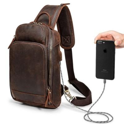 本革ボディバッグUSB充電可メンズ左右肩掛け可ワンショルダーバッグ厚手牛革ラウンドZIP大容量iPad対応ダークブラウンブラック