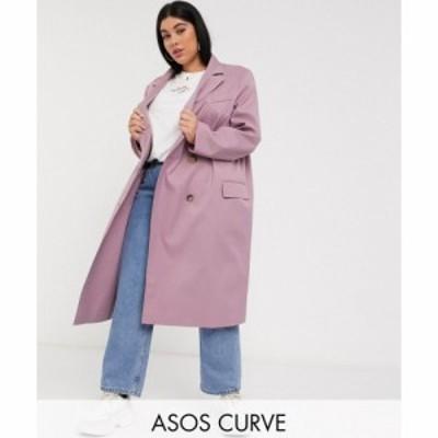 エイソス ASOS Curve レディース コート アウター ASOS DESIGN Curve classic crepe coat in mauve モーヴ