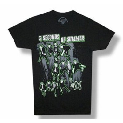 ファッション トップス 5 Seconds Of Summer-Triple Jump-Black Lightweight T-shirt