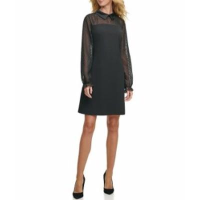 トミー ヒルフィガー レディース ワンピース トップス Collared Long Sheer Dotted Sleeve A-Line Dress Black