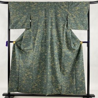 小紋 美品 名品 紬地 草花 流水 灰緑 袷 身丈157cm 裄丈66cm M 正絹 中古