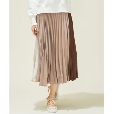Feroux/フェルゥ 【洗える】カラーブロックプリーツ スカート ベージュ系1 2