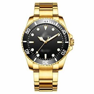 腕時計  ビジネススポーツLuxuryカレンダー防水ファッションLuminousステンレススチールストラップクォーツメンズドレス ゴールドブラッ
