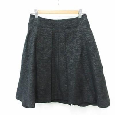 【中古】アドーア ADORE スカート ひざ丈 フレアー タック ブラック 黒 36 レディース