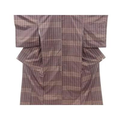 宗sou 格子模様織り出し米沢紬着物【リサイクル】【着】