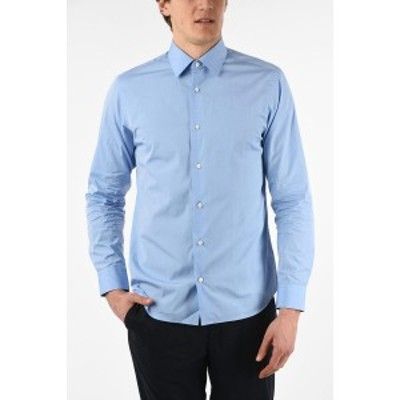 ERMENEGILDO ZEGNA/エルメネジルド ゼニア Light blue メンズ ZZEGNA TENCEL Cotton Spread Collar Slim Fit Shirt dk