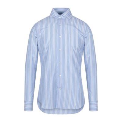 GUGLIELMINOTTI ストライプ柄シャツ  メンズファッション  トップス  シャツ、カジュアルシャツ  長袖 スカイブルー