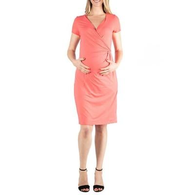 24セブンコンフォート レディース ワンピース トップス Maternity Short Sleeve V Neck Faux Wrap Dress