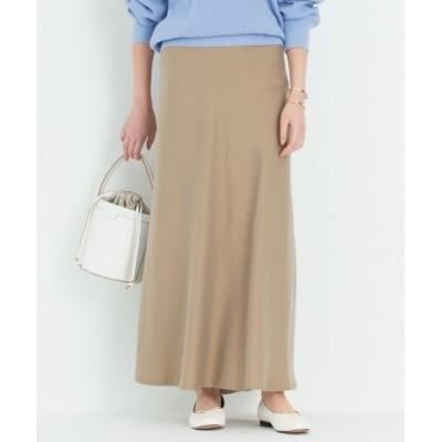 S size ONWARD(小さいサイズ)/エスサイズオンワード 【洗える】テンセルサテンギャバ フレア スカート ベージュ系 30