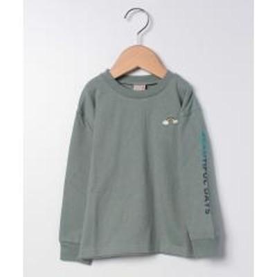 petit main(プティマイン)虹刺しゅう袖ロゴTシャツ