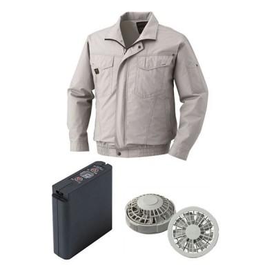 綿薄手 タチエリ空調服(KU91400)/作業着 〔ファンカラー:グレー カラー:シルバー L〕 大容量バッテリーセット(LIULTRA1) 綿100% 吸湿性