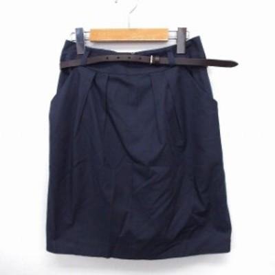 【中古】ボールジー BALLSEY トゥモローランド スカート タイト ひざ丈 ベルト付き 無地 シンプル 36 ネイビー 紺 /FT