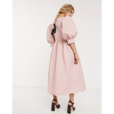 シスタージュン レディース ワンピース トップス DREAM Sister Jane midi wrap dress with volume sleeves and scallop hem in textured jacquard